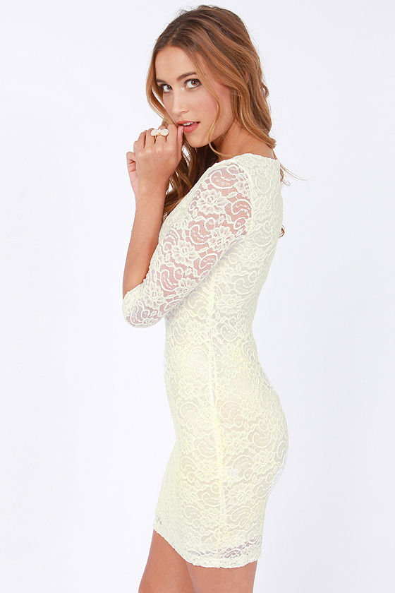 Glamorous Beauty from Above Ivory Lace Dress at Lulus.com!
