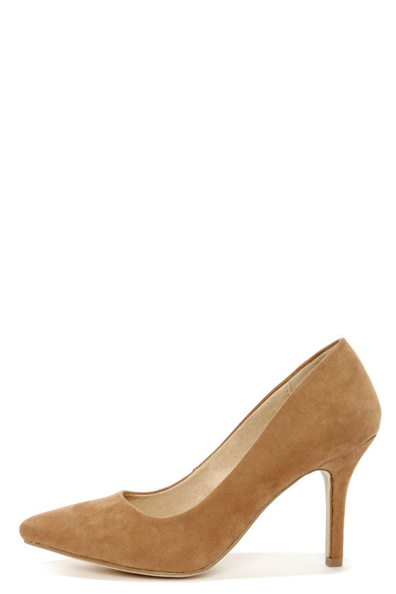 f692cfc4fea Cute Tan Heels - Pointed Pumps - High Heels - Brown Heels -  27.00