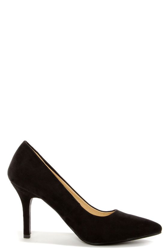 Karla 5 Black Suede Pointed High Heels at Lulus.com!