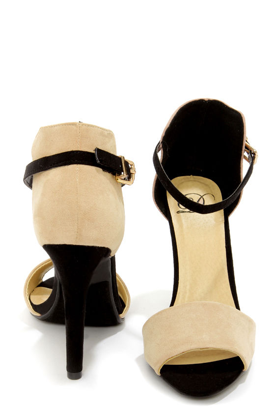 My Delicious Sticker Putty and Black High Rise High Heels at Lulus.com!