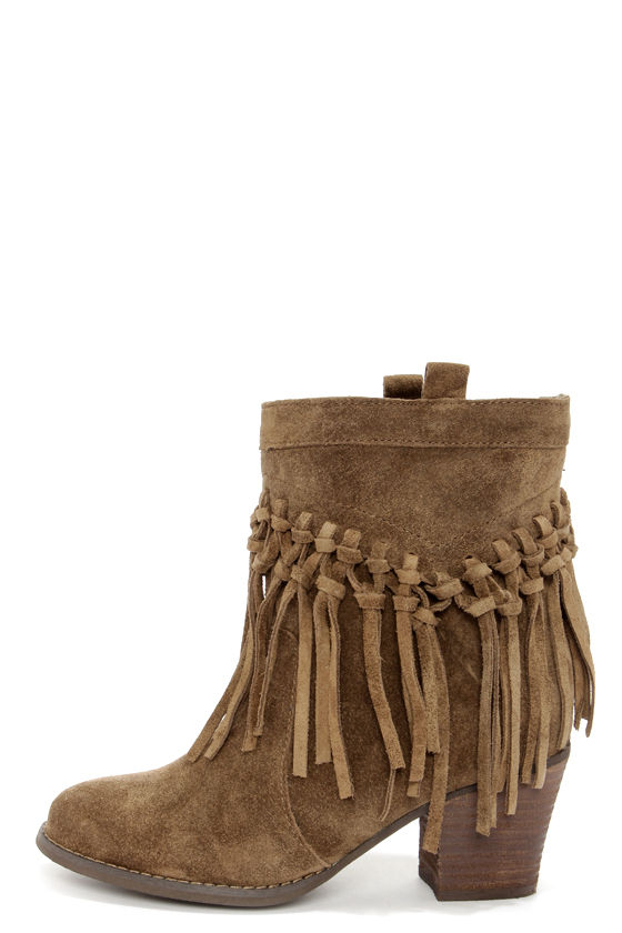 Cute Suede Boots - Fringe Boots - Booties - $114.00