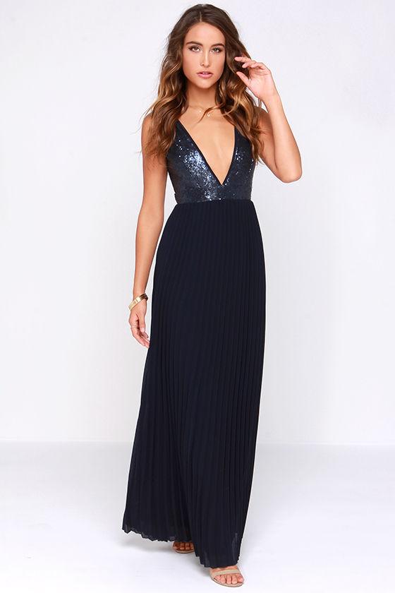 Gorgeous Maxi Dress - Navy Blue Dress - Pleated Dress - Sequin ...
