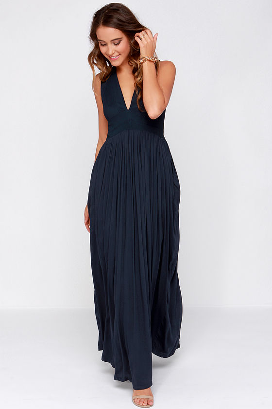 Beautiful Navy Blue Dress - Maxi Dress - $49.00