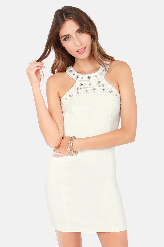 Starry Eyes Beaded Ivory Dress at Lulus.com!