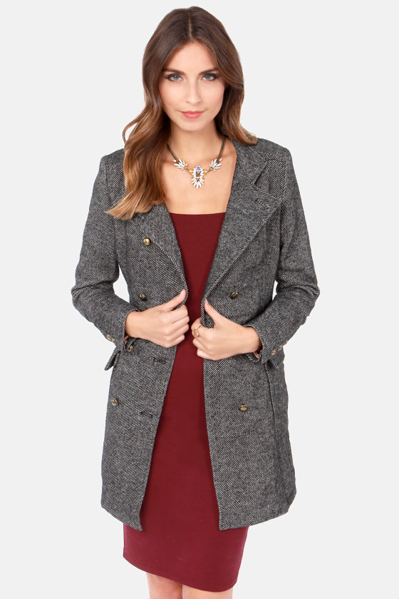 New England Streets Ivory and Black Coat at Lulus.com!