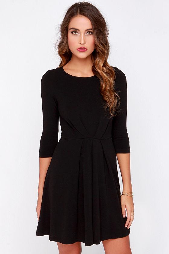 a3a9710559fe Cute Black Dress - Skater Dress - Long Sleeve Dress -  47.00