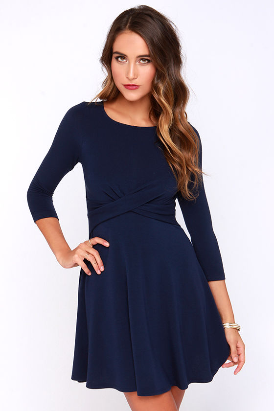 Chic Navy Blue Dress - Skater Dress - Long Sleeve Dress - $44.00