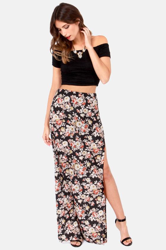 3d355d048fb3 Sexy Floral Print Skirt - Maxi Skirt - High-Waisted Skirt - Black Skirt -   41.00