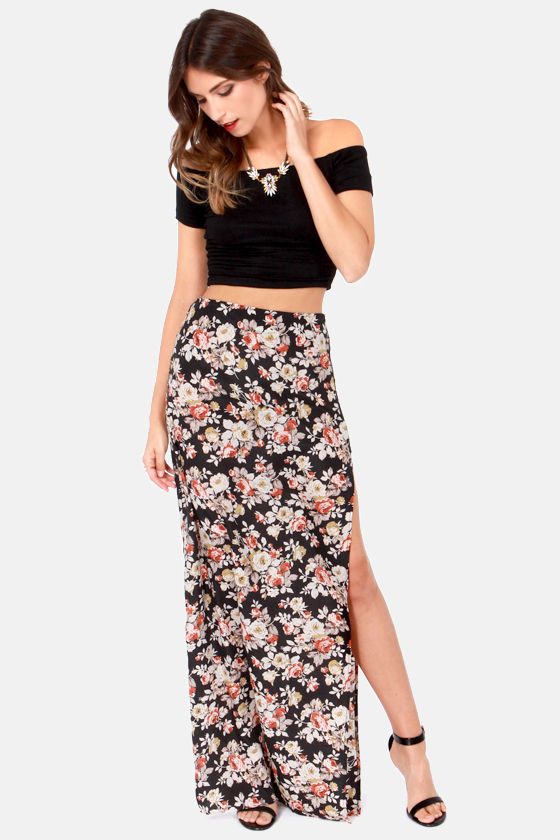 Sexy Floral Print Skirt - Maxi Skirt - High-Waisted Skirt - Black ...