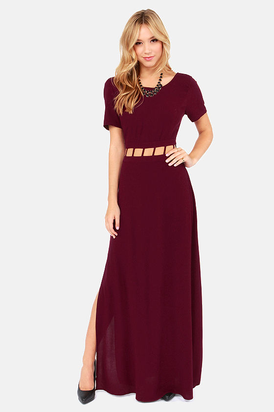 Night Watch Cutout Burgundy Maxi Dress at Lulus.com!