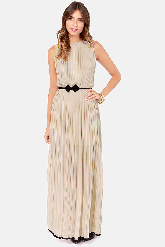 As Pleat as Honey Taupe Maxi Dress at Lulus.com!