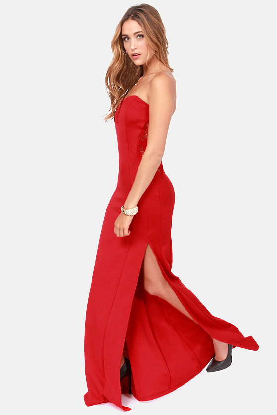 TFNC Patcha Strapless Red Maxi Dress at Lulus.com!