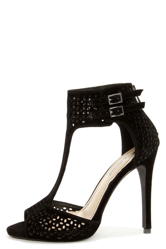 Anne Michelle Perton 22 Black Cutout T-Strap Heels at Lulus.com!