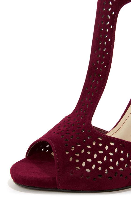 Anne Michelle Perton 22 Burgundy Cutout T-Strap Heels at Lulus.com!