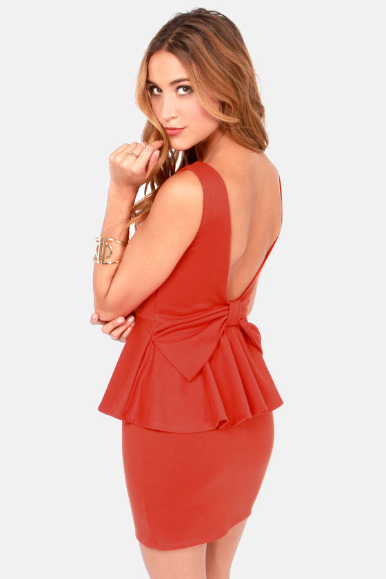 Happy Go Lovely Backless Burnt Orange Peplum Dress at Lulus.com!