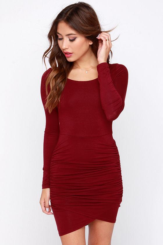 Pretty Wine Red Dress - Long Sleeve Dress - Bodycon Dress - $38.00