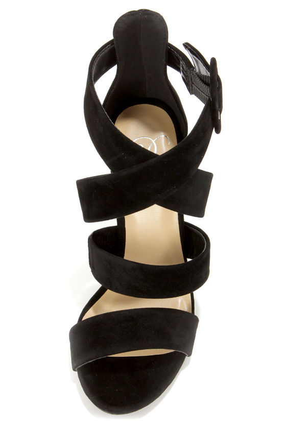 My Delicious Tesia Black Crisscrossing Peep Toe Heels at Lulus.com!