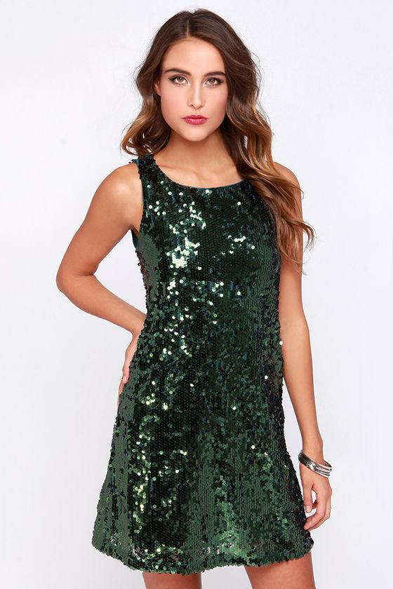 Pretty Olive Green Dress - Sequin Dress - $49.00