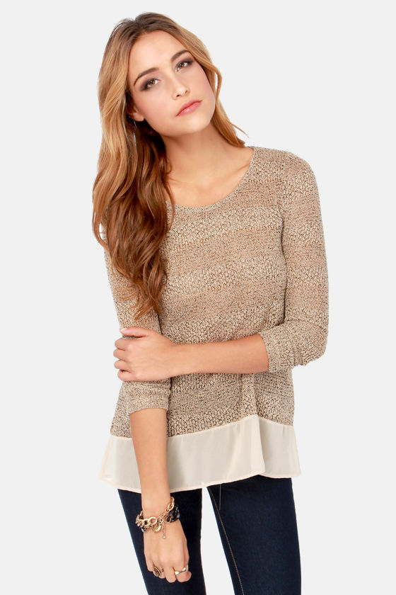 Frost at Sea Speckled Beige Sweater Top at Lulus.com!