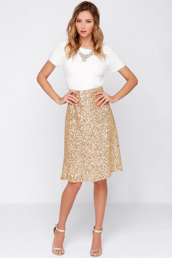 Pretty Gold Skirt - Sequin Midi Skirt - High Waisted Skirt - $38.00