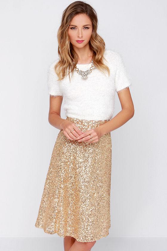 b7031dcb27 Pretty Gold Skirt - Sequin Midi Skirt - High Waisted Skirt - $38.00