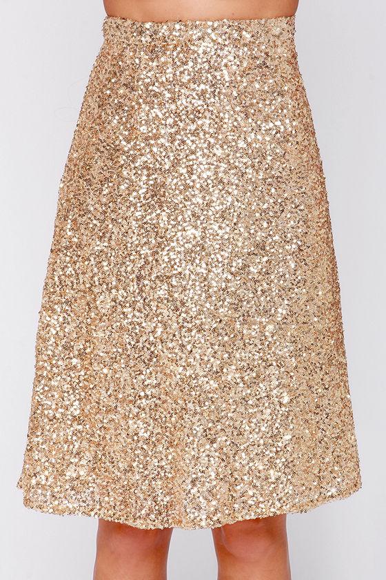 Pretty Gold Skirt - Sequin Midi Skirt - High Waisted Skirt - $38.00