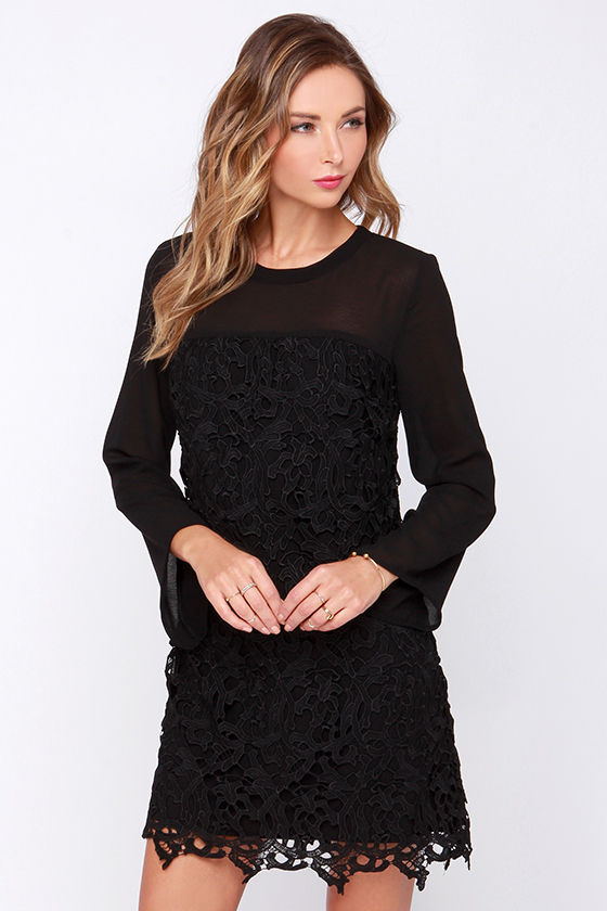 Pretty Black Dress - Lace Dress - LBD - Long Sleeve Dress - $68.00