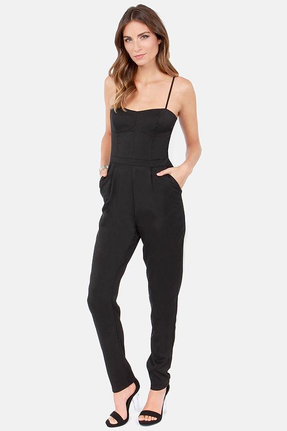 d781a2d0474 Cute Black Jumpsuit - Woven Jumpsuit - Tapered Leg Jumpsuit -  45.00
