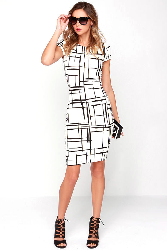 Long and Drawn Out Black and Ivory Print Midi Dress 1