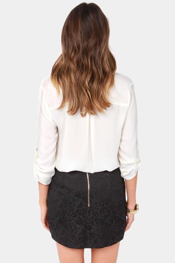 Break the Mold Black Jacquard Skirt at Lulus.com!