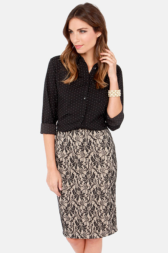 Cute Lace Skirt - Pencil Skirt - Black Skirt - Beige Skirt - $49.00
