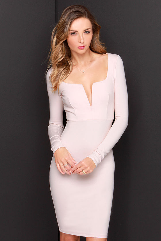 6dc37340c9e8 Chic Blush Dress - Midi Dress - Long Sleeve Dress -  54.00