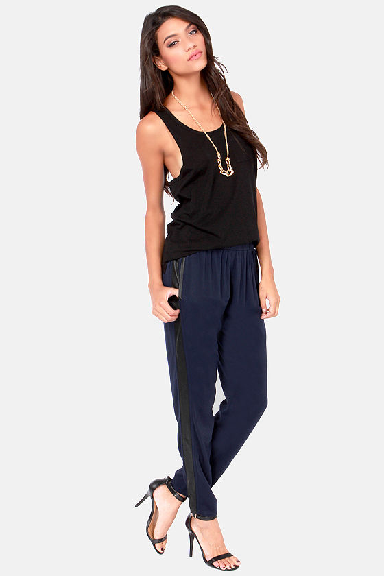 Chill Out Cropped Black and Navy Blue Pants at Lulus.com!