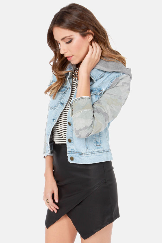 Billabong Maddie Joy Distressed Camo and Denim Jacket at Lulus.com!