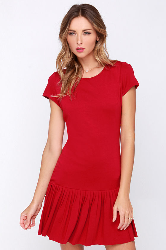 Cute Red Dress - Drop Waist Dress - Pleated Dress - $49.00