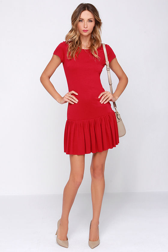 aea515dd5d Cute Red Dress - Drop Waist Dress - Pleated Dress -  49.00
