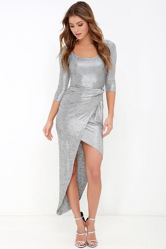 Chic Silver Dress Bodycon Dress Metallic Dress High