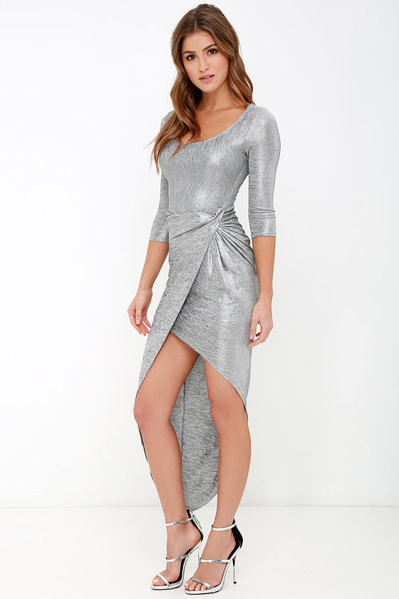 Grey cocktail dress with sleeves