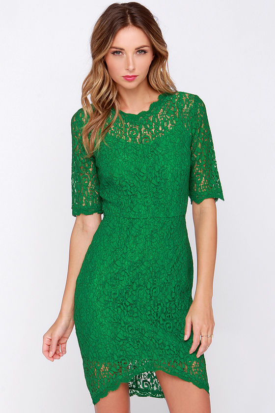 Pretty Bright Green Dress - Lace Dress - Sheath Dress - $122.00