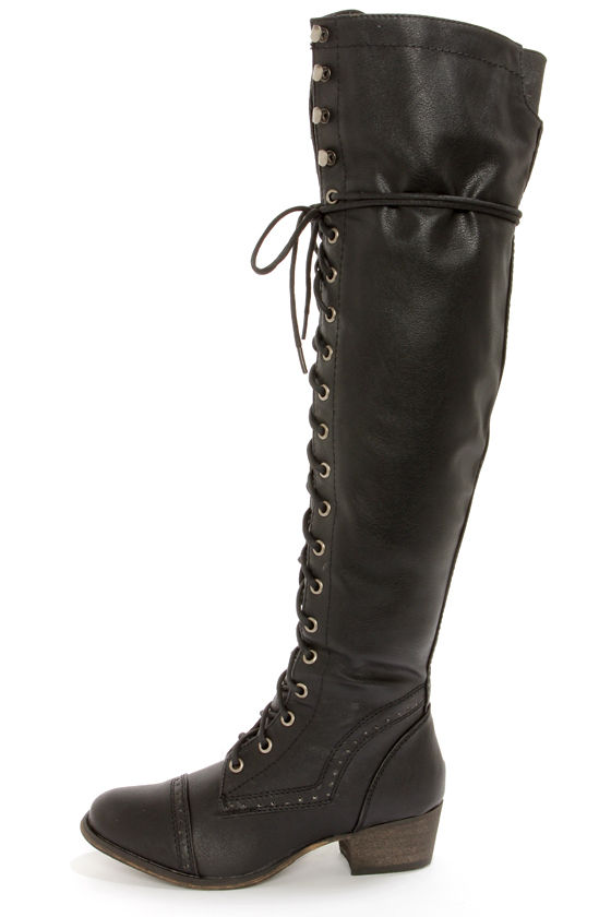 1d7792940c8 Cute Black Boots - Lace-Up Boots - OTK - Over the Knee Boots -  49.00
