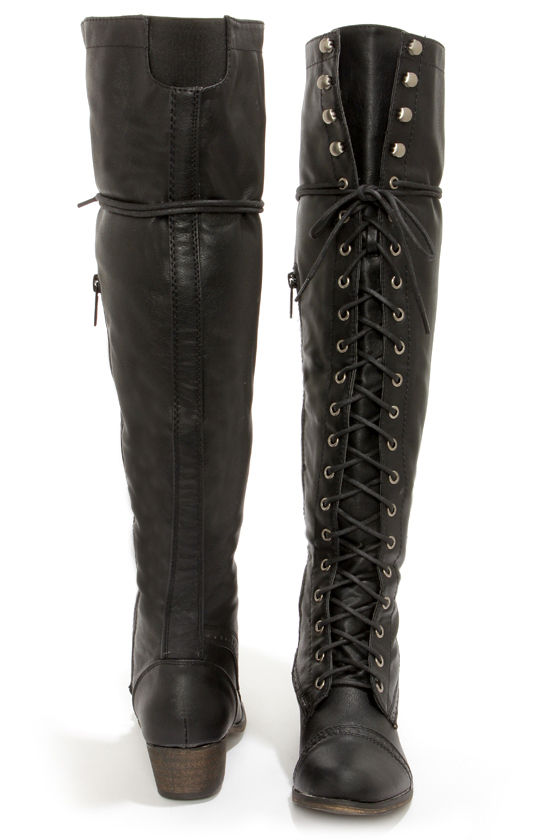 Alabama 12 Black Lace-Up Over the Knee Boots at Lulus.com!