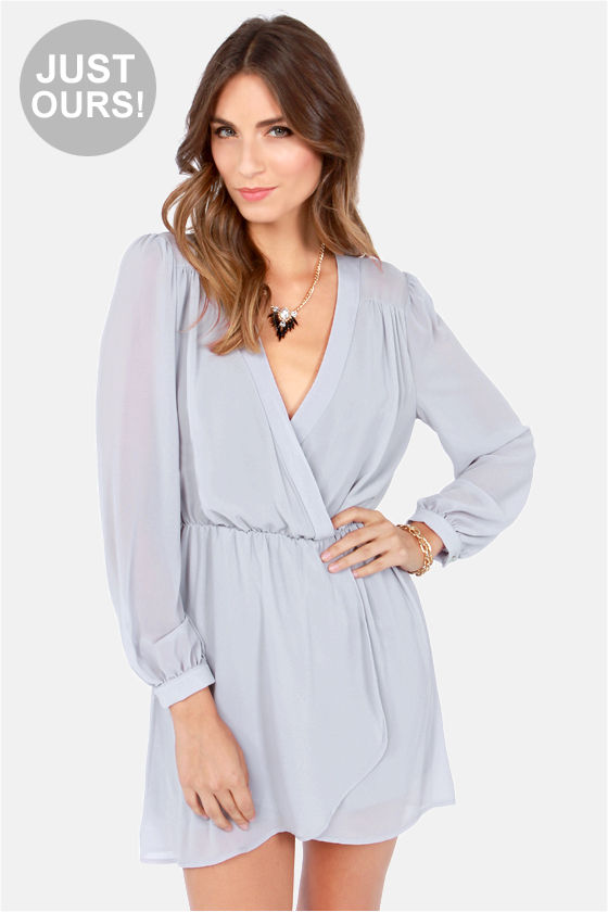 a85e006ef04b Stylish Grey Dress - Wrap Dress - Long Sleeve Dress -  47.00