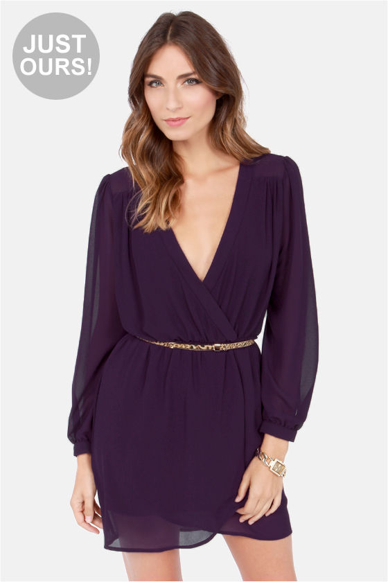 Stylish Dark Purple Dress - Wrap Dress - Long Sleeve Dress - $47.00