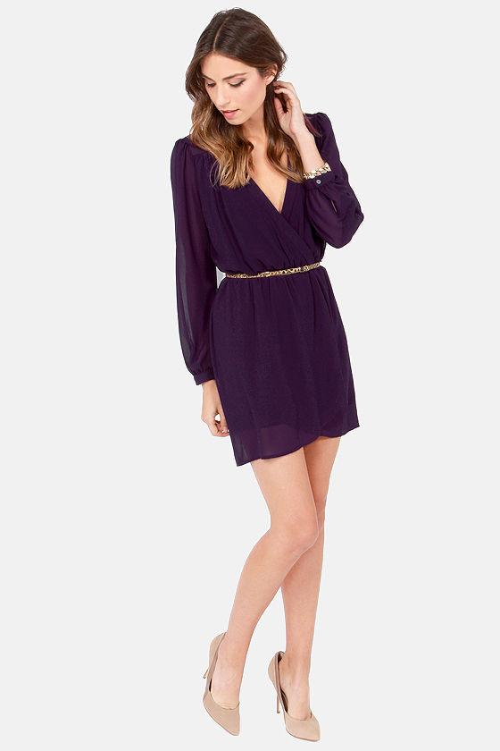 LULUS Exclusive Under Wraps Dark Purple Wrap Dress at Lulus.com!