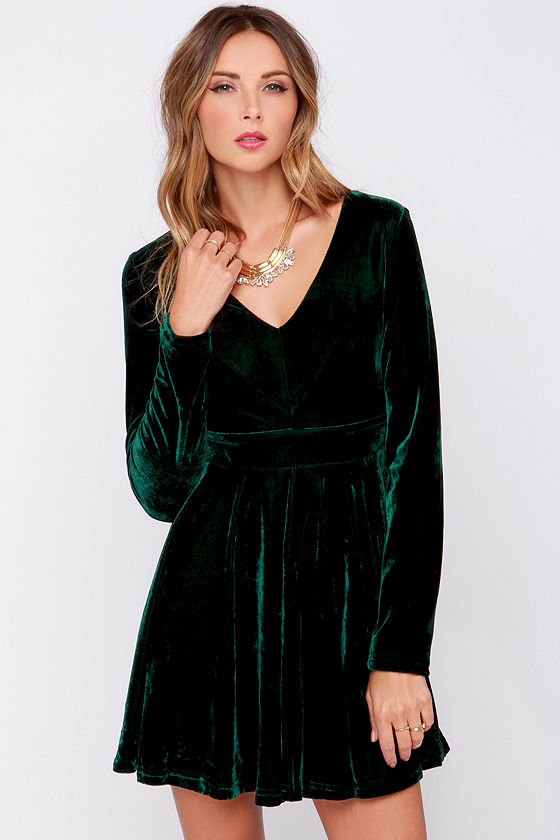 a332ab9e43 Cute Green Dress - Dark Green Dress - Velvet Dress - Skater Dress -  41.00