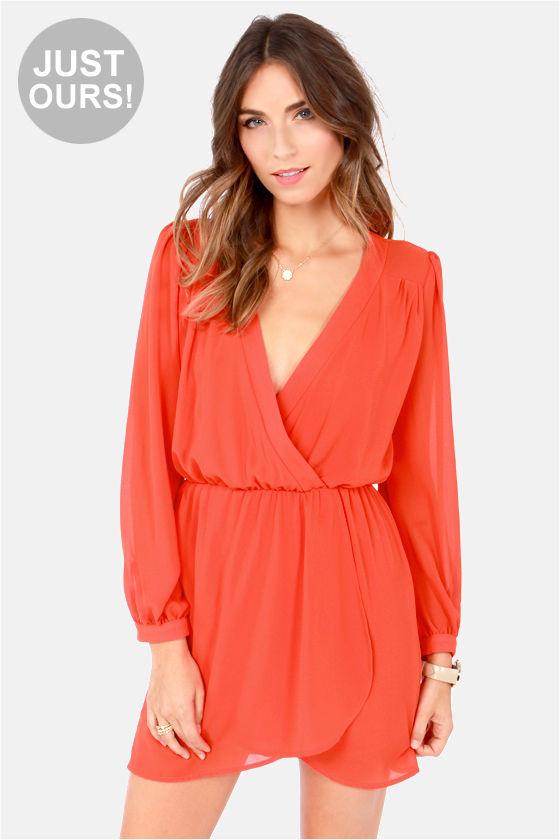 aa1181efb00e Stylish Coral Orange Dress - Wrap Dress - Long Sleeve Dress - $47.00