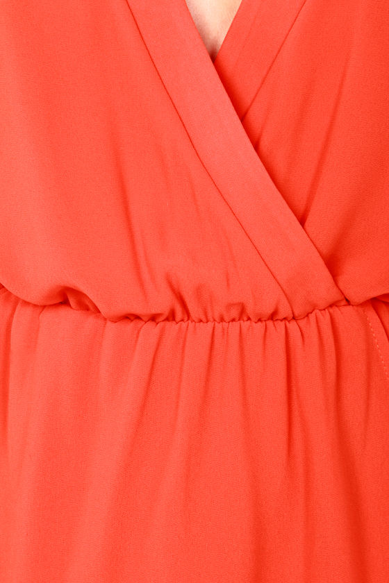 LULUS Exclusive Under Wraps Coral Orange Wrap Dress at Lulus.com!