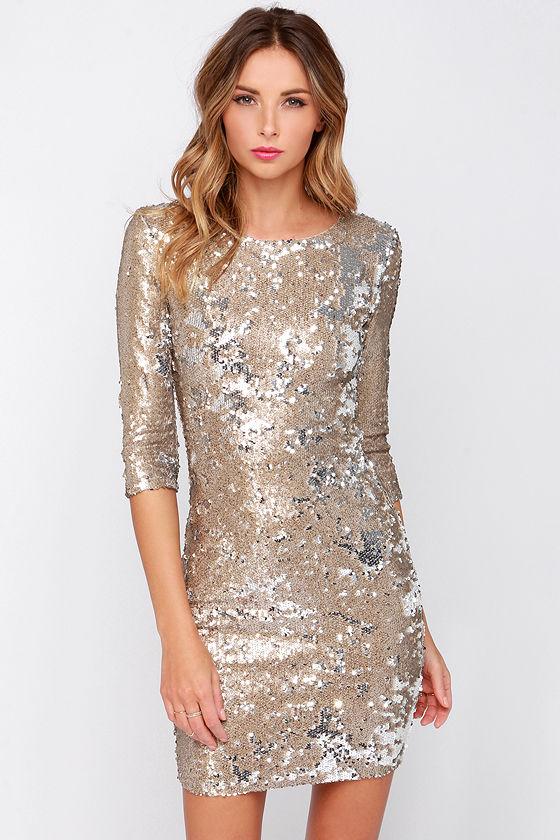 TFNC Paris Dress - Gold Dress - Sequin Dress - $113.00