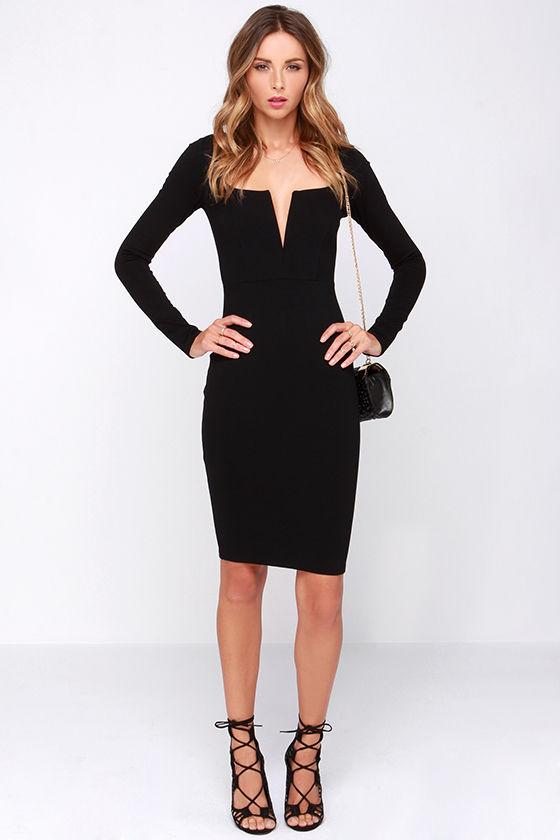 Chic Black Dress - Midi Dress - Long Sleeve Dress - $54.00