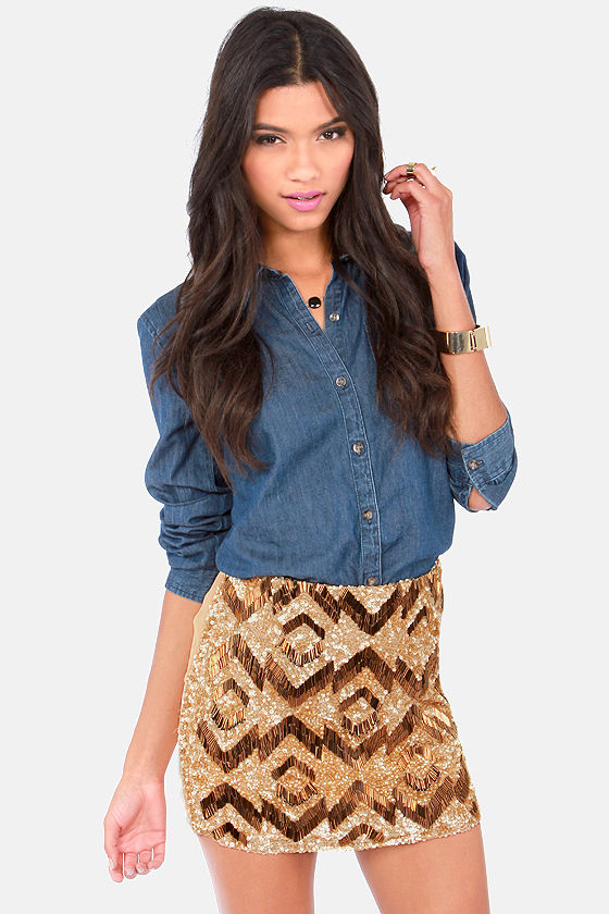 Chevron the Way Gold and Beige Sequin Mini Skirt at Lulus.com!